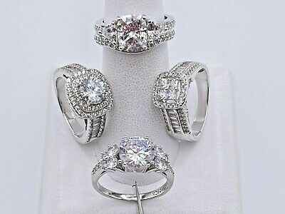 $ CDN64.75 • Buy Jtv Lot Sterling Silver 925 Clear Cubic Zirconia Cz Engagement Rings And Band