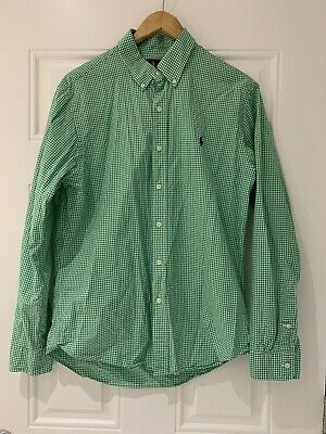 Ralph Lauren Mens Green Gingham Check Long Sleeve Shirt - Slim Fit - Size Large • 10£