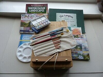 Winsor & Newton Artists Box Easel  Watercolour Paints Paper Brushes + More • 40£