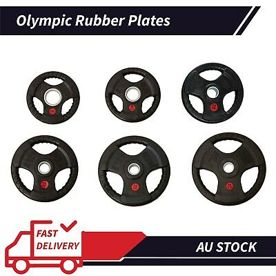 AU58.50 • Buy AU Olympic 5CM Rubber Coated Cast Iron Weight Plate 2*5KG Set Commercial Grade