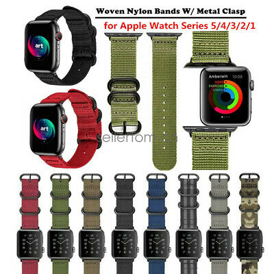 AU16.14 • Buy Durable Military Nylon Watch Strap Band For Apple Watch SE 6 5 4 3 2 42/44mm