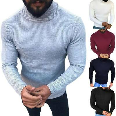 Mens Roll Neck Jumper Soft Ribbed Sweater Knitted High Turtle Polo Pullover Top • 16.05£