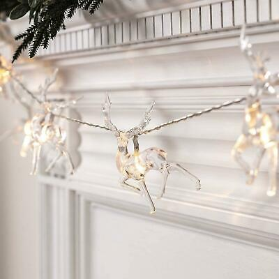 £5.99 • Buy 10 Battery Operated Warm White Led Reindeer Fairy String Lights Xmas Decor