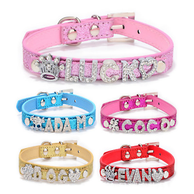 £6.99 • Buy Personalised Dog Collar Pet Name Crystal Bling Charms Puppy UK Tag Customised