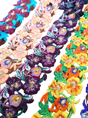 £3.49 • Buy 4cm Wide Floral Trimming Pansy Flower Cutwork Embroidery Motif Trim Ribbon 1/2 M