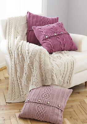 £3.89 • Buy King Cole Aran Knitting Pattern Cable Knit Throw & Button Cushion Covers 5660