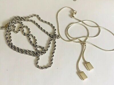 """$ CDN46.24 • Buy Lot 2 Sterling Silver 925 Chain Necklace Milor Lariat Bab 24"""" Rope Chain Nice!"""