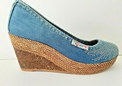 Ersax Denim High Wedge Heels Shoes - Size 4 - Silver Wings Detail Boho VGC • 28.99£