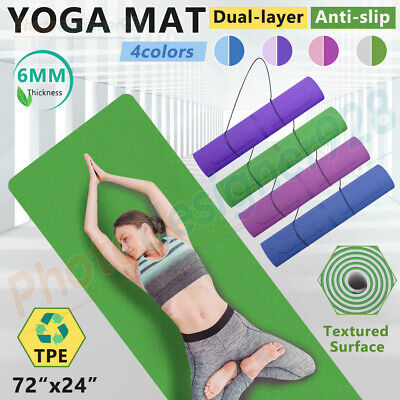 AU23.92 • Buy TPE Yoga Mat Exercise Fitness Gym Pilates Non Slip Large Dual Layer Sport Pad