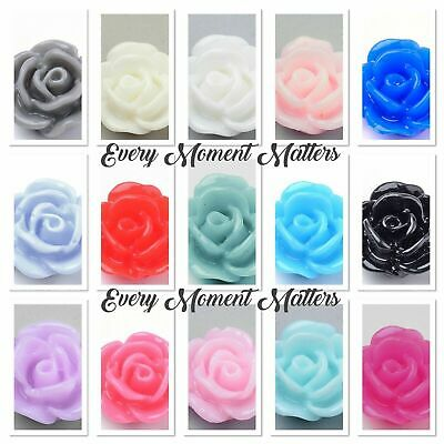 20 X RESIN FLAT BACK FLOWER ROSE CABOCHONS 10mm Choose Colour • 2.59£