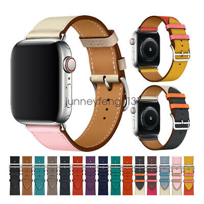 AU19.54 • Buy For Apple Watch Band, 6 5 4 3 2 Single Tour Genuine Leather IWatch SE Strap