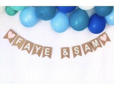 Personalised Name Kraft Bunting, Anniversary Sign, Custom Wedding Engaged Banner • 12.50£