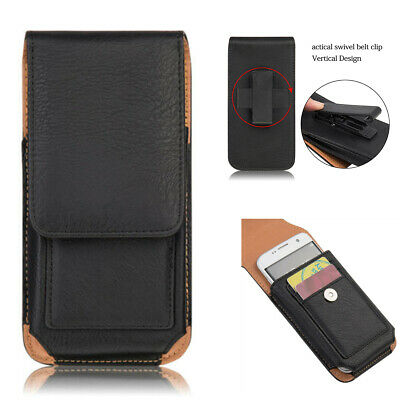 AU18.99 • Buy Vertical Leather Holster Case With Belt Clip Pouch W/Built In ID Card Holder