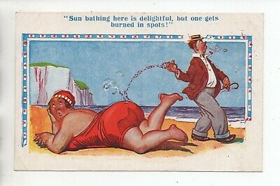 Sun Bathing Here Is Delighful ..... Smoking Themed Comic Postcard • 2£