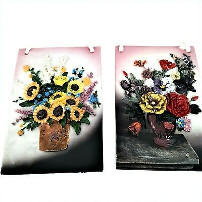 Home Decor  3D Ceramic Floral Wall Plaques Set Of 2 Hanging Art 3.5 X 5.5  Each • 14.18£