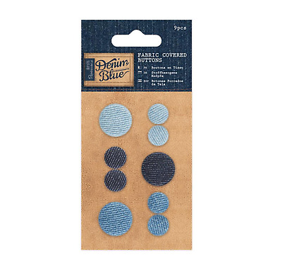Fabric Covered Buttons - Denim Blue - 9pcs • 2.50£