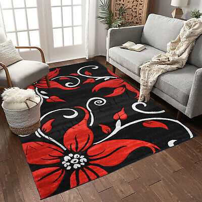 £69.95 • Buy Black Red Modern Design Rug High Quality Thick Floral Rugs Runners Carpets Mat