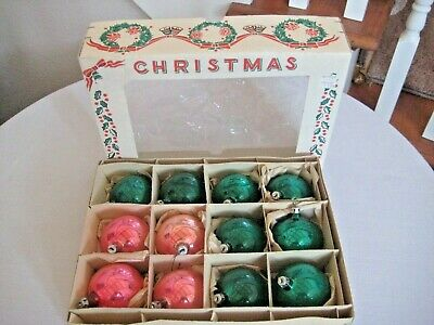 $ CDN10.53 • Buy Vintage Box Pink & Green Mercury Glass Christmas Ball Ornaments - Made In Poland