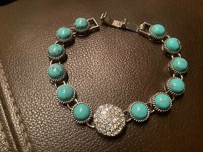 "$ CDN6.67 • Buy Lia Sophia Bracelet FAUX TURQUOISE AND RHINESTONE Length 7"" Inch."