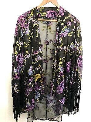 AU24.95 • Buy Gorgeous Asos Curve UK 18 Kimono Burnt Out Flowers And Fringing Details