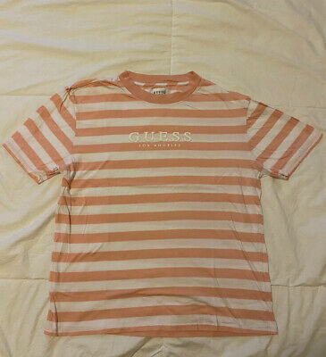 $ CDN64.47 • Buy Guess Jeans Vintage 90s T-shirt Size M Classic Pink White Striped