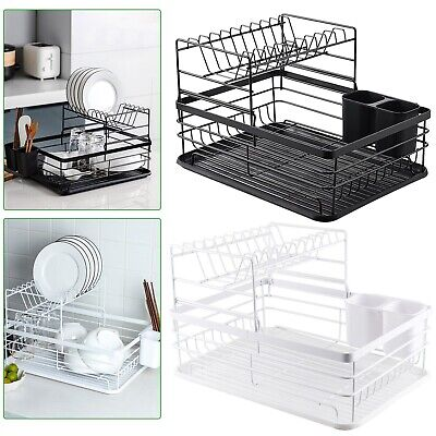 2Tier Dish Drainer Rack With Drip Tray Cutlery Holder Plate Rack Kitchen Sink UK • 17.99£
