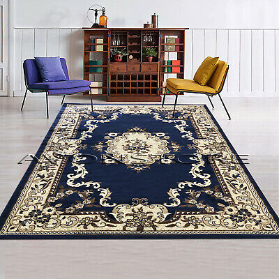 £52.95 • Buy Blue Traditional Area Rug Floral Design Classic Soft Room Rugs Runner Carpets