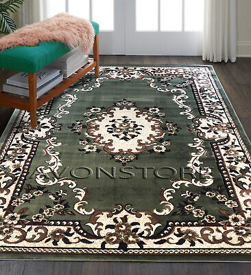 £27.95 • Buy Traditional Rug Floral Elegant Classic Green Small Xlarge New Area Rugs Runner