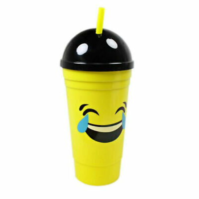 Emoji Plastic Cup With Straw And Lid Yellow Black Design Hot Cold Drinks • 5.99£