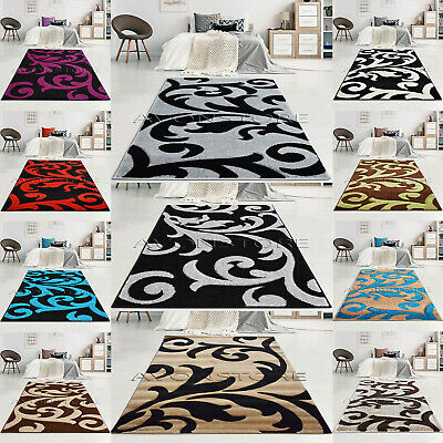 Large Modern Rugs Bedroom Living Room Curve Design Rug Runner Non Slip Carpets   • 69.95£