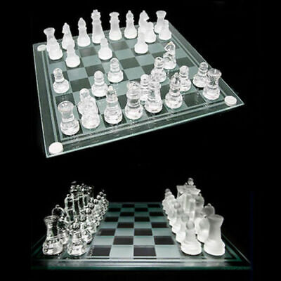 £18.99 • Buy New Large Traditional Glass Chess Set Board Game 32 Frosted Pieces 30cm X 30cm