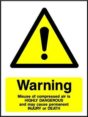 Warning Misuse Of Compressed Air Sign • 0.99£
