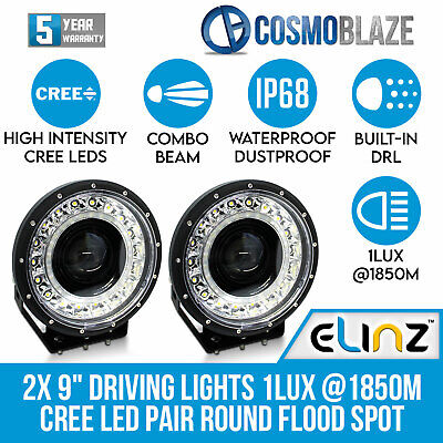 AU299 • Buy 9  Driving Lights Flood Spot Combo CREE LED Pair Round 1LUX 1850M Built-in DRL