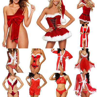 Womens Ladies Sexy Fur Red Christmas Underwear Lingerie Babydoll Dress Sleepwear • 4.69£