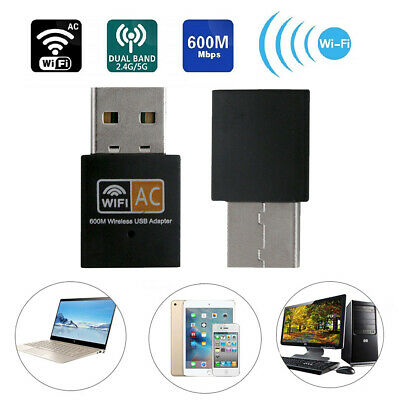 Dual Band 2.4 5G 600Mbps Wireless Adapter WiFi Dongle Computer Laptop USB WIFI • 5.22£