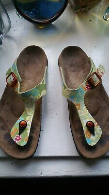 BIRKENSTOCK Papillio Toe Post Sandals Green Floral Size 5 • 19.99£