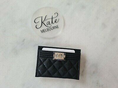 AU815 • Buy BNWT Chanel Boy Card Holder Black With Champagne Hardware