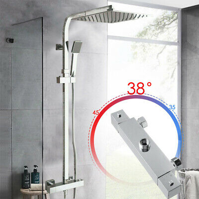 Thermostatic Mixer Shower Set Square Chrome Twin Head Exposed Valve Bathroom Hot • 65.29£