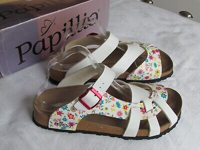 NEW Papillio Birkenstock Pisa Ladies White Floral Mules Sandals UK Size 7 EU 40 • 64.99£
