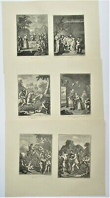 William Hogarth, Six Prints, Illustrations For Don Quixote, Engraved C1726 • 185£