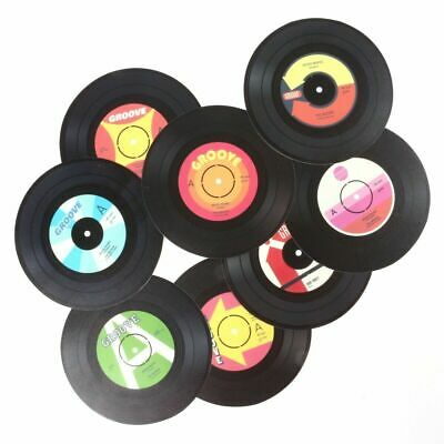 8x VINYL RECORD COASTERS Retro Cup Drink Place Mat Coffee Tea Table Protector • 3.95£