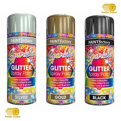 200ml Glitter Gold Silver Black Spray Paint Sparkling Finish Creative Craft Art • 6.45£