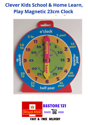 £2.94 • Buy Clever Kids School & Home Learn, Play Magnetic Clock To Teach Children Time 23cm