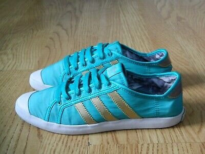 Adidas Adria Low Sleek W Ladies Trainers Turquoise & Gold Size 4 / 36.5 • 8.49£