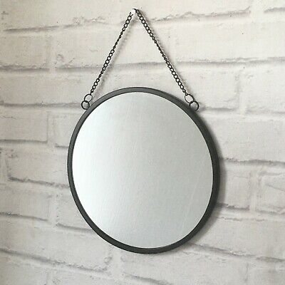 Black Hanging Round Wall Mirror Metal Chain Geometric Modern Vintage Framed • 12.85£