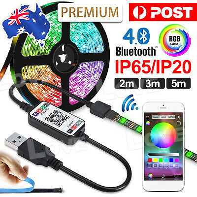 AU15.95 • Buy 3M 5M Bluetooth RGB LED Strip Lights 5050 5V USB Color Changing TV PC Back Light