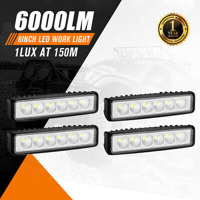 AU29.95 • Buy 4x 6inch LED Work Light Bar Flood Beam Reverse Lamp Driving Offroad 4WD