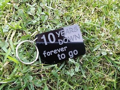 10 YEARS DOWN Keyring 10th Anniversary Gifts Husband Wife Love Forever • 6.99£
