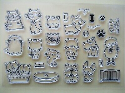 NEW Clear Acrylic Craft Stamps Set - Cute Cats & Dogs Poodle Scottie Corgi Paws • 3.99£
