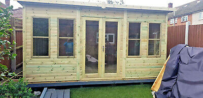 12x6 SUMMER HOUSE GARDEN OFFICE SHED CONTEMPORARY CABIN WORKSHOP HEAVY DUTY T&G • 1,300£
